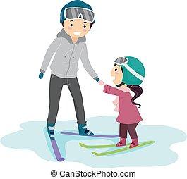 niña, ilustración, profesor, stickman, esquí, lección, niño