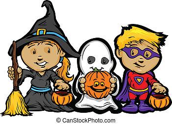 niña, imagen, halloween, niños, truco, vector, gusto, linternas de - o - de enchufe, o, caricatura, feliz