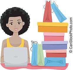 niña, ir de compras en línea directa