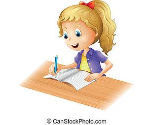 niña, joven, escritura