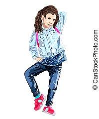 Niña. La ilustración de la moda. Dibujo a mano, la estilización de acuarelas. Aislado en un fondo blanco. Vector