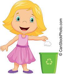 niña, lanzamiento, joven, basura, caricatura