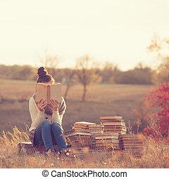 niña, libros