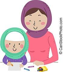 niña, mamá, ilustración, musulmán, empate, niño