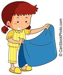 niña, manta, azul