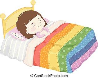 niña, manta, sueño, niño, cama, ilustración, arco irirs