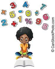niña, matemáticas, estudiar