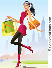 niña, moda, compras