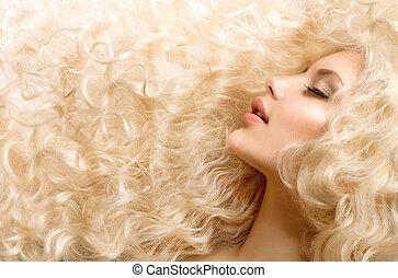 niña, moda de pelo, hair., rizado, ondulado, sano, largo