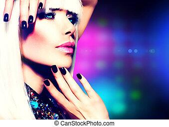 niña, moda de pelo, portrait., maquillaje, fiesta, disco, púrpura, blanco