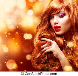 niña, moda de pelo, portrait., ondulado, dorado, rojo