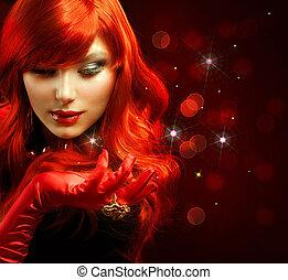 niña, moda, portrait., hair., magia, rojo