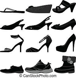 niña, mujer, shoes, hembra, calzado