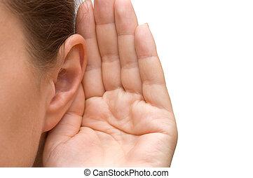 niña, oreja, escuchar, ella, mano