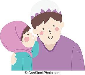 niña, padre, susurro, voz, musulmán, niño, nivel