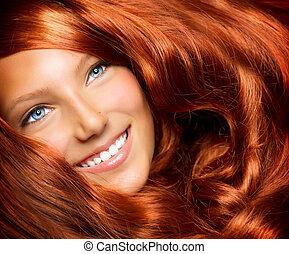 niña, pelo, hair., largo, rizado, sano, rojo, hermoso