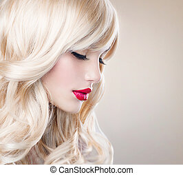niña, pelo, hair., rubio, ondulado, sano, largo, hermoso, blanco