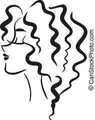 niña, pelo, ondulado, perfil