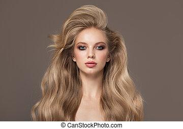 niña, pelo, ondulado, rubio, hermoso, retrato, largo
