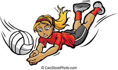 niña, pelota, voleibol, buceo, ilustración, vector, caricatura