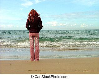 niña, playa
