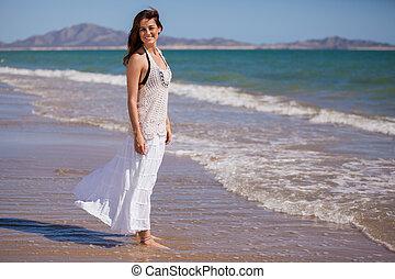 niña, playa, relajante, feliz