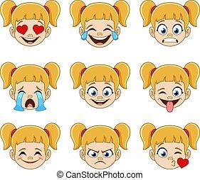 niña, rubio, cara azul, ojos, expresiones, emoji