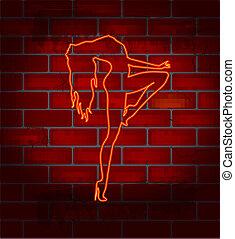 niña, strip-tease, bailando