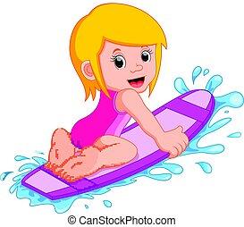 niña, tabla de surf
