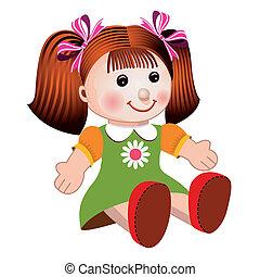 niña, vector, ilustración, muñeca