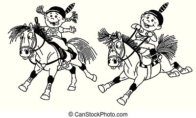 Niña y niño montando ponis