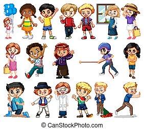 niñas, diferente, grande, plano de fondo, conjunto, niños, blanco, actividad