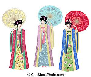 niñas hermosas, trajes, asiático