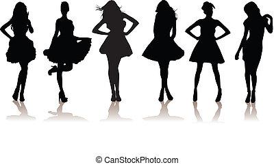 niñas, modelo, hermoso