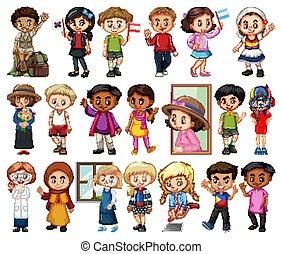 niñas, plano de fondo, blanco, conjunto, niños, grande, actividad, diferente