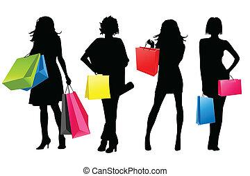 niñas, silueta, compras