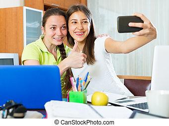 niñas, teléfono, elaboración, foto, móvil