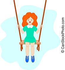 niñez, lindo, swinging., feliz, vector, niñez, poco, design., niña, concepto, illustration., moderno, activo, niño, recreation.