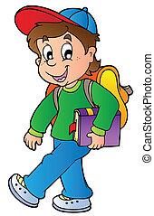 niño, ambulante, escuela, caricatura