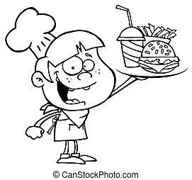 niño, arriba, tenencia, cheeseburger