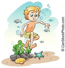 Niño bajo el mar
