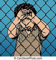niño, barras, migrants, refugiado, niño, atrás, prisión, límite
