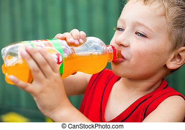 niño, bebida, embotellado, malsano, soda