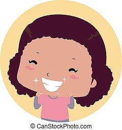 niño, brillante, niña, ilustración, dientes