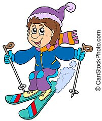 niño, caricatura, esquí