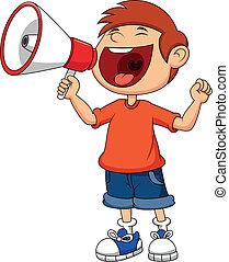 niño, caricatura, gritar, gritos