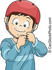 niño, casco de seguridad