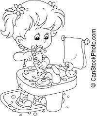 Niño cepillando dientes