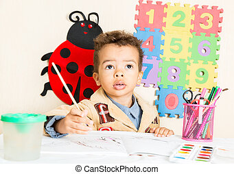 niño, colorido, lápices, jardín de la infancia, norteamericano, negro, africano, tabla, dibujo, preescolar