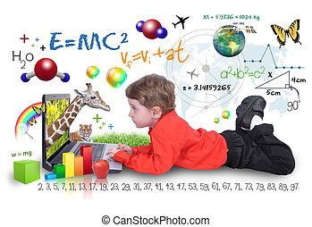 niño, computador portatil, herramientas, aprendizaje, internet